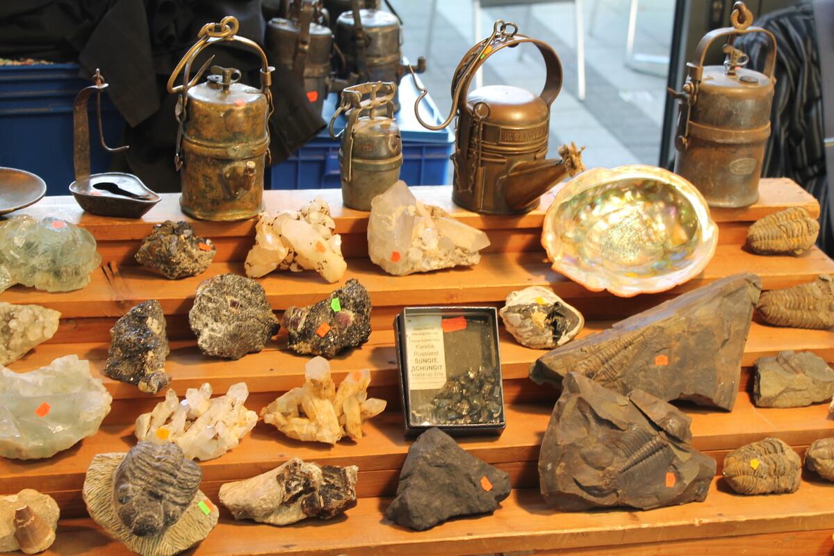 Seltene Fossilien, edle Kristalle und antike Stücke