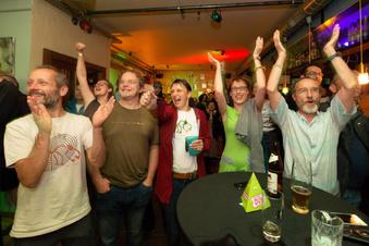 Dresdens Grüne feiern ihren Sieg