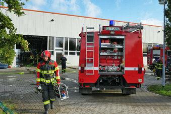 Feuerwehr im Leisniger Gewerbegebiet