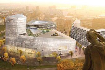 Glaspalast statt Parkplatz vorm Karstadt