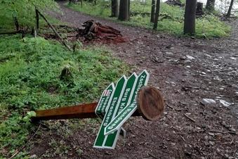 Vandalismus am Wanderweg in Kriebstein
