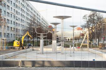 Promenade mit Brunnen wird später fertig