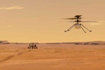 Mars-Heli bereit zum Start