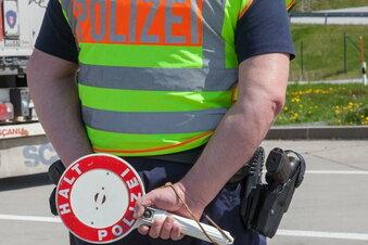 Motorrad mit Autokennzeichen bei Hainichen auf A4 erwischt