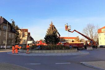 Weihnachtsbaum am Schliebenkreisel steht