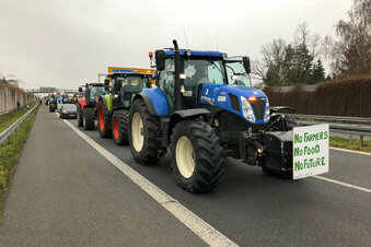 Bauernprotest: Traktor-Flashmob in Zittau