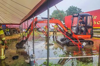 Regen flutet Circus Magic in Dresden