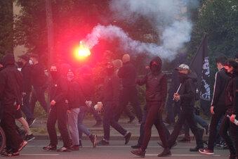 Demo gegen Polizei in Connewitz