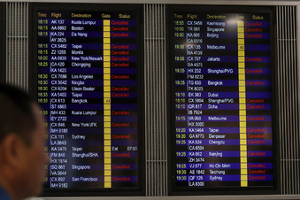 Hongkonger Flughafen stellt Betrieb ein