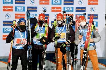 Biathlon-Staffeln auf dem Weltcup-Podest