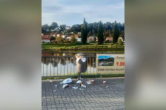 In Pirna quellen die Papierkörbe über
