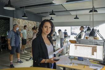 Stephanie Stumph dreht ZDF-Krimi im Haus der Presse