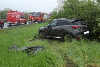 Unfall in der Autobahn-Abfahrt