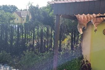 Riesa: Erst brennt die Hecke, dann das Terrassendach