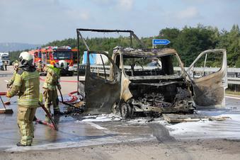 Verkehr nach Brand auf A4 bei Dresden behindert