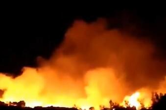 Feuer auf Samos nahe Flüchtlingslager