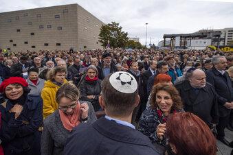 Kundgebung vor Dresdner Synagoge