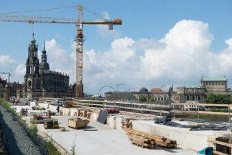 Augustusbrücke bald komplett betoniert