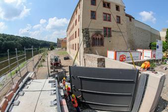 Hochwasseranlage in Grimma beschädigt