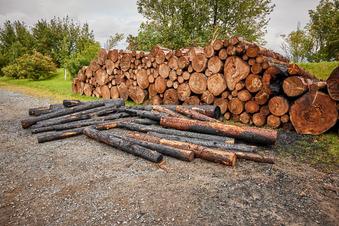 Holzstapel brennt bei Cunnersdorf