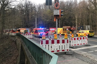 Rettungseinsatz nahe Dresdner Mordgrundbrücke