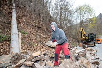 Felssicherung in Tharandt vorerst beendet