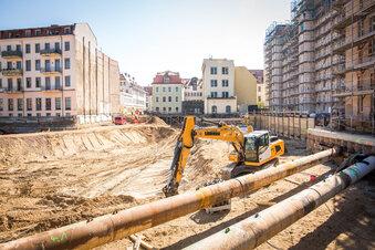 Baugrube für Königshöfe wird ausgehoben