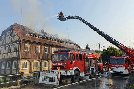 Verletzte bei Brand in Umgebindehaus