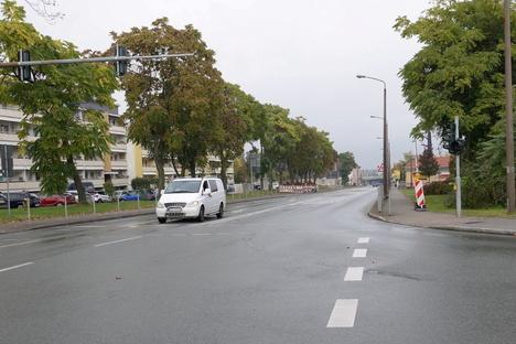 Freie Fahrt auf der Berliner Straße in Riesa