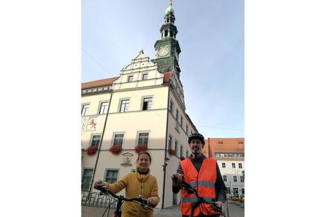 Pirna: Der mit dem Fahrrad wirbt