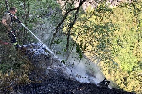 Waldbrand an den Schrammsteinen