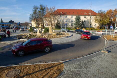 Pirnas neuer Kreisverkehr ist fertig