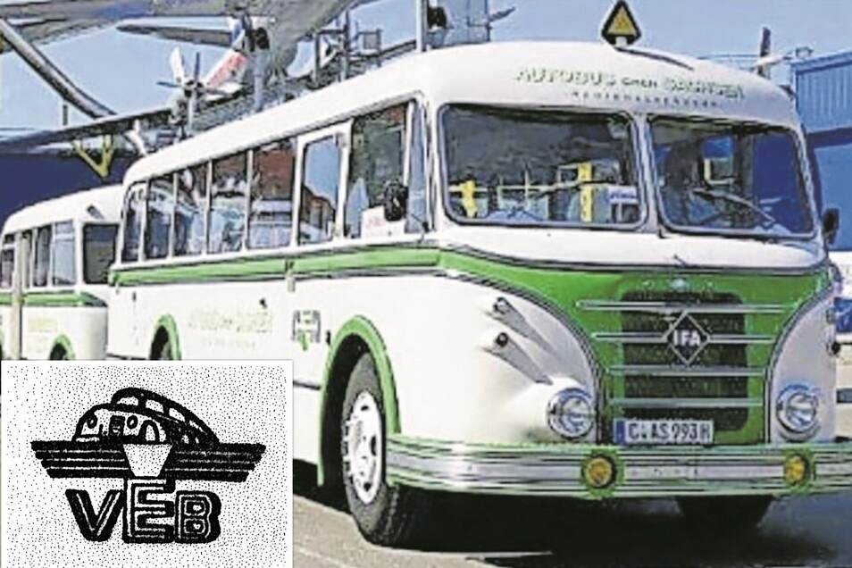 Ein in Werdau gebauter H 6B-Bus mit Anhänger. Dadurch ließ sich die Transportkapazität erhöhen. Kleines Bild: das Logo der volkseigenen Kraftverkehrsbetriebe.