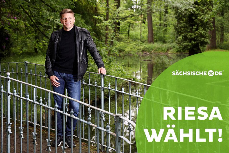 Gunnar Hoffmann im Schlosspark Jahnishausen. Der 51-Jährige tritt als parteiloser Kandidat an und möchte neuer Oberbürgermeister in Riesa werden.