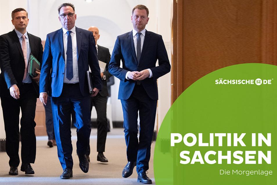 Martin Dulig (SPD), Michael Fohrer und Michael Kretschmer (CDU) (v.l.) trafen sich am Montag in Dresden, um über die Zukunft von Bombardier zu sprechen.