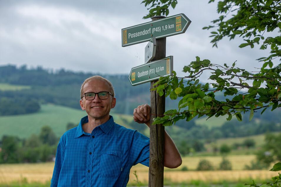 Uwe Schwensow kümmert sich nun um die 96 Kilometer Wanderwege in Kreischa.