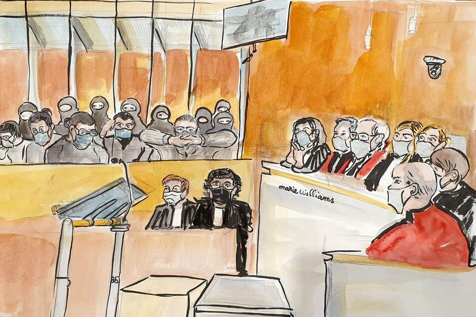 Eine Gerichtszeichnung stellt eine Szene aus dem Prozess um den islamistischen Terroranschlag auf das französische Satiremagazin «Charlie Hebdo» dar.