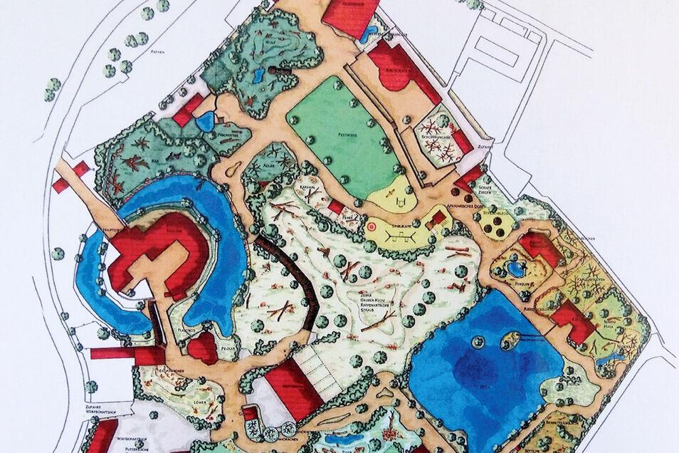 Zehn Jahre sind schnell um: Dieser Plan aus dem Zookonzept von 2011 konnte nicht umgesetzt werden. Damals strebte man eine Afrikasavanne im Zentrum an. Letztlich fehlte das Geld.