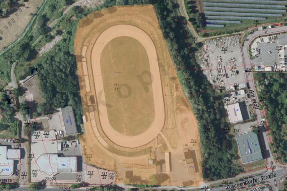 Die eingefärbte Fläche zeigt die Flurstücke, die der MC Meißen von der Stadt gepachtet hat. Rechts neben dem Speedwaystadion wollen die Motorsportler des MC Eisdrifters Meißen eine kleine Halle errichten.