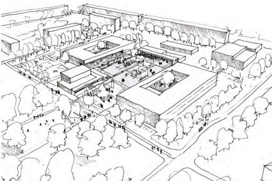 So stellen sich die Planer den Schulkomplex in Döbeln Ost vor. Die neue Grundschule wird auf dem heutigen Sportplatz im hinteren Bereich errichtet. Die künftige Lernförderschule entsteht im zweiten Bauabschnitt.