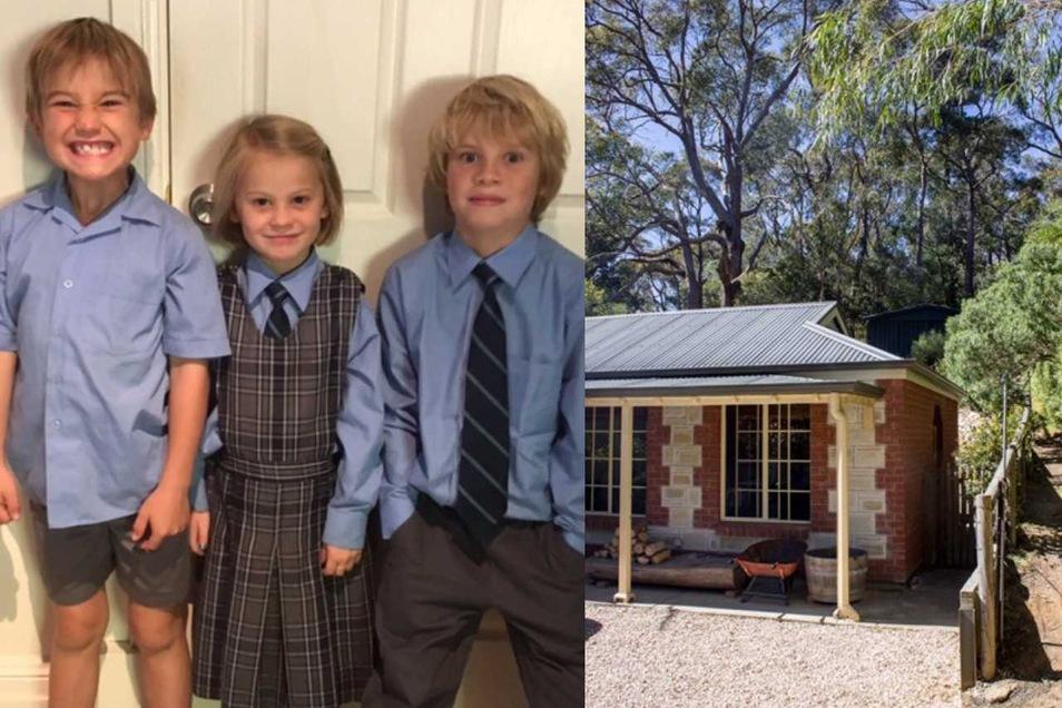 Zuhause in Adelaide tragen die Kinder Schuluniformen und haben viel Platz im Grünen.