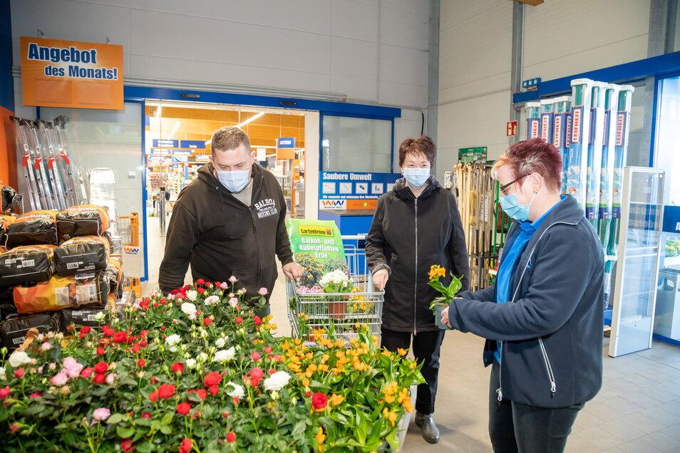 Annett Sjöberg und Jens Mikowski lassen sich von Marktleiterin Grit Schröter (rechts) bei Werkers Welt in Niesky beraten. Sie kauften Erde, Frühblüher und Saatgut für den Garten und das Gewächshaus.