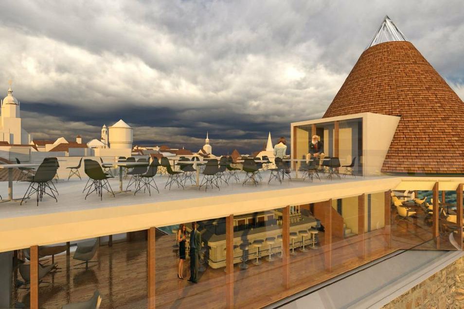 So könnte eine Skybar in und auf dem Langhaus und der Ortenburg aussehen.