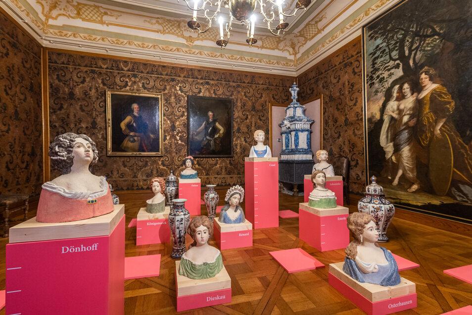 Unter anderem sind Büsten der Mätressen von August dem Starken in der Ausstellung zu sehen.