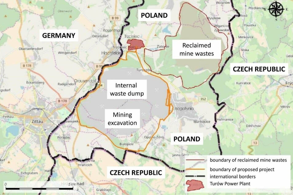 Die gelbe Linie zeigt die geplante Erweiterung der Grube, die rote die künftige Größe der Müll-Deponie.