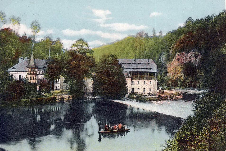Die Lauenhainer Mühle in der Nähe des Wappenfelsens war das einzige Objekt, welches im Zuge des Talsperrenbaus abgerissen wurde.