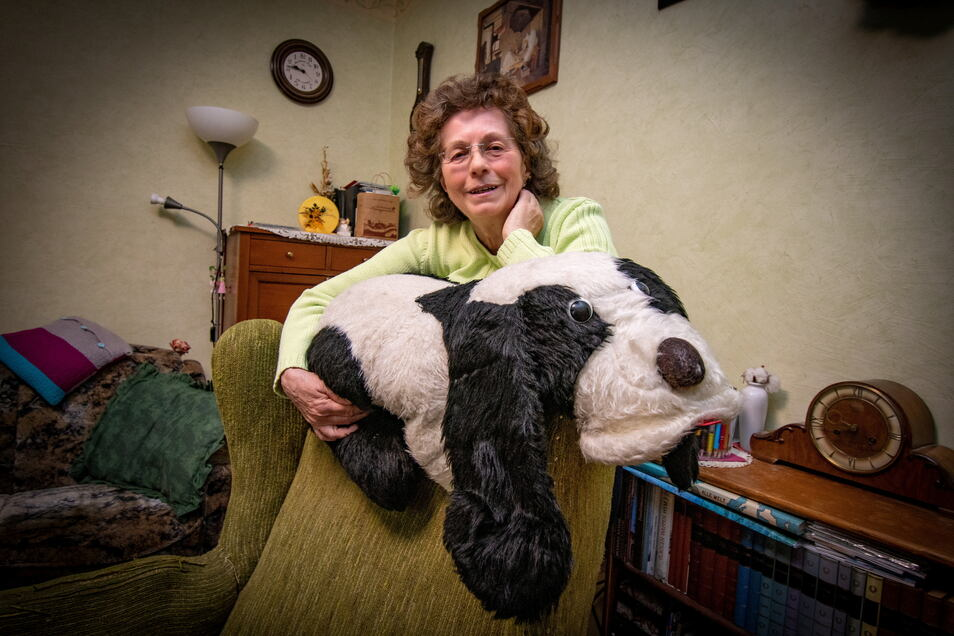 Den Stoffhund, der den Sessel von Rita Lehmann bewacht, hatte ihr Sohn vor 40 Jahren zum Geburtstag geschenkt bekommen. Damals hatte sie den Döbelner Bürgermeister eingeladen – die Stadt feierte gerade ihr 1000-jähriges Bestehen.