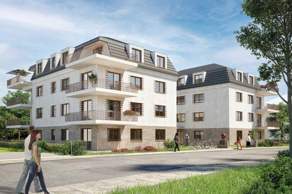 Die beiden neuen Häuser an der Kötitzer Straße prägen als architektonische Besonderheit Balkone und Dachterrassen ums Eck, wie in der Visualisierung zu erkennen ist.