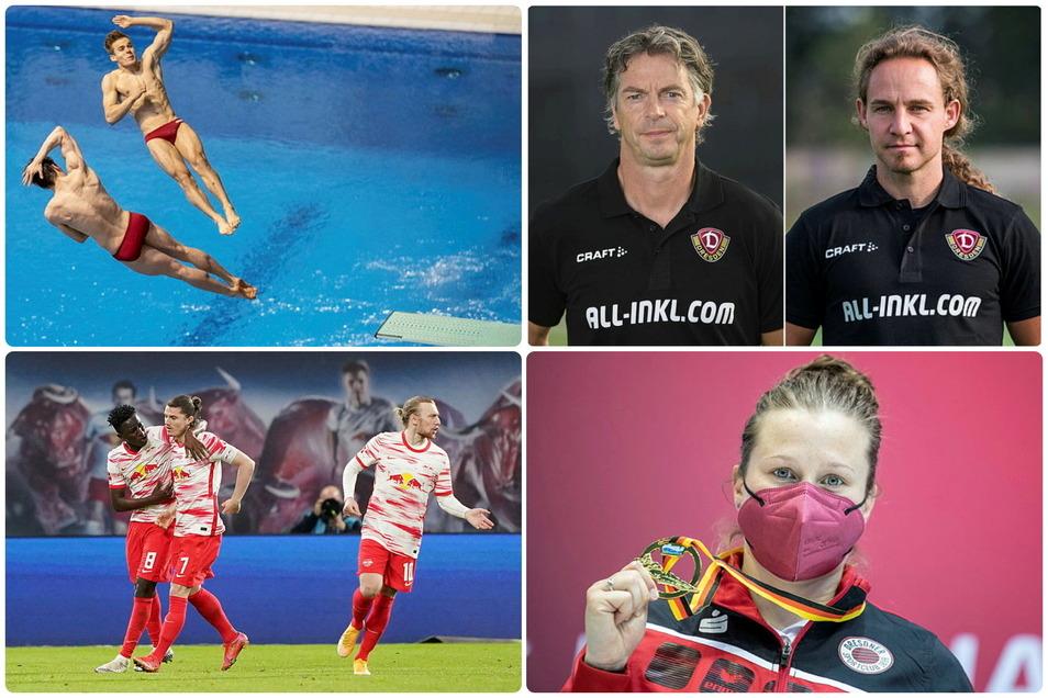 Die Protagonisten des Sportfreitags: die Wasserspringer Martin Wolfram und Tina Punzel, RB Leipzig und Dynamos Fit-Macher.