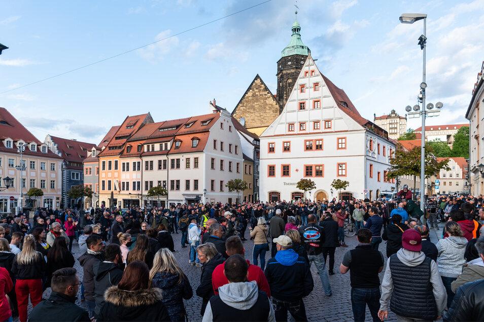 """Demo am 6. Mai in Pirna:  """"In der Regel wurde nicht von der Möglichkeit Gebrauch gemacht, spontan eine Versammlung anzuzeigen."""""""